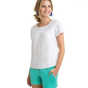Vineyard Vines Monstera Embroidered White Top M